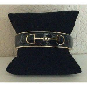 Fornash Gold Black Enamel Clamp Bangle Bracelet